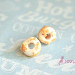 white chocolate donut earrings