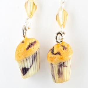 blueberry muffin dangle earrings